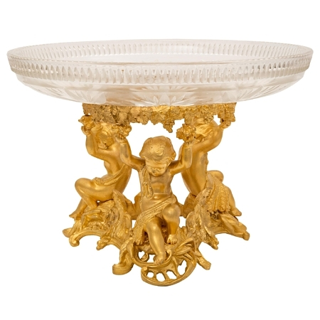 A French 19th century Louis XVI st. Belle Époque period Baccarat crystal and ormolu centerpiece bowl