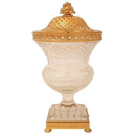 A French 19th century Louis XVI st. Belle Époque period Baccarat crystal and ormolu Pot Pourri urn signed Baccarat