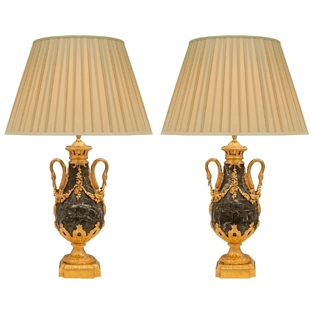 A pair of French 19th century Louis XVI st. ormolu and Vert Maurin marble lamps