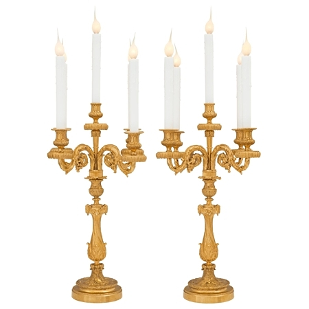 A pair of French 19th century Louis XVI st. ormolu candelabra lamps