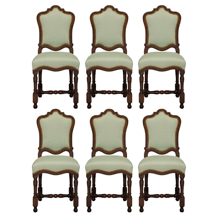 A complete set of six Italian 18th century Louis XIV period walnut dining chairs